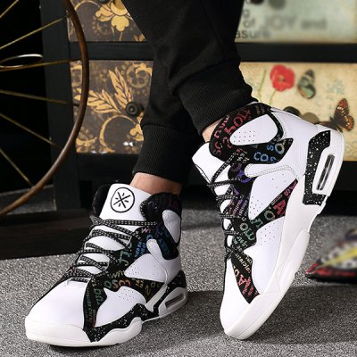 Lace-Up High Top Letter Print Athletic Shoes