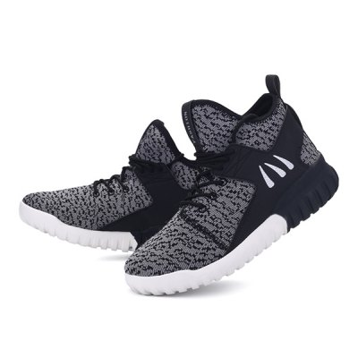 PU Splicing Lace-Up Athletic Shoes