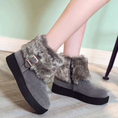 Zip Side Faux Fur Suede Ankle Boots