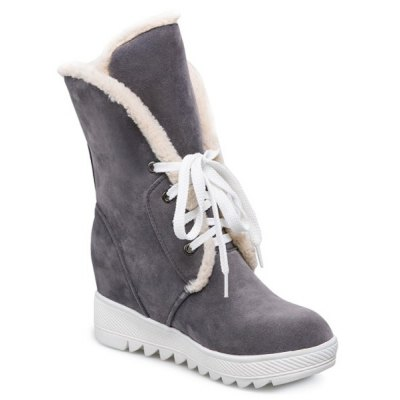 Lace Up Wedge Mid Boots