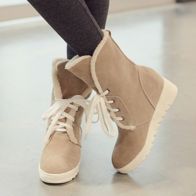 Lace Up Faux Fur Suede Wedge Mid Boots