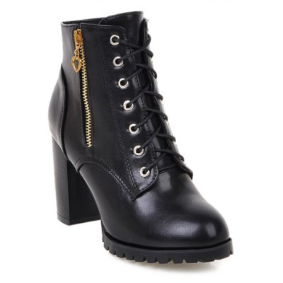 Tie Up Double Zipper PU Leather Ankle Boots