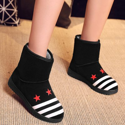 Star Pattern Color Block Striped Snow Boots