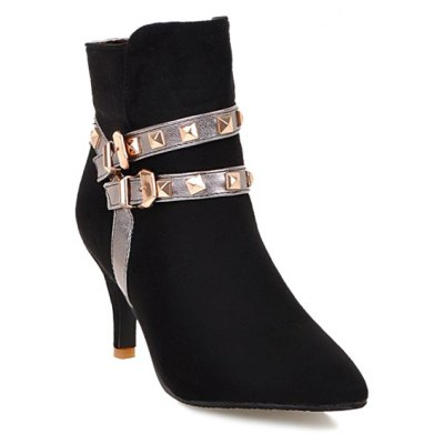 Double Buckle Color Block Short Boots
