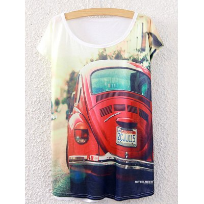 Stylish Short Sleeve Car Pattern Round Neck T-Shirt
