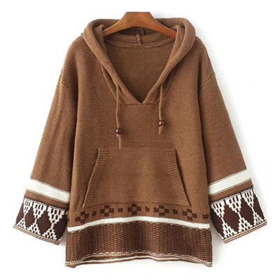 Hooded Drawstring Front Pocket Sweater
