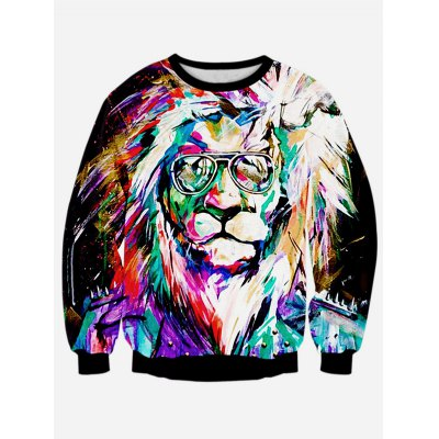 Lion 3D Print Long Sleeve Sweatshirt