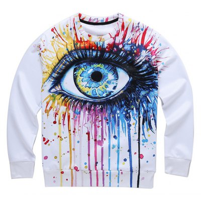 Dripping 3D Eyes Print Round Neck Long Sleeve Sweatshirt