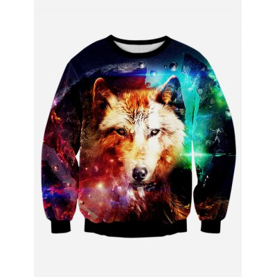 Wolf 3D Print Long Sleeve Sweatshirt
