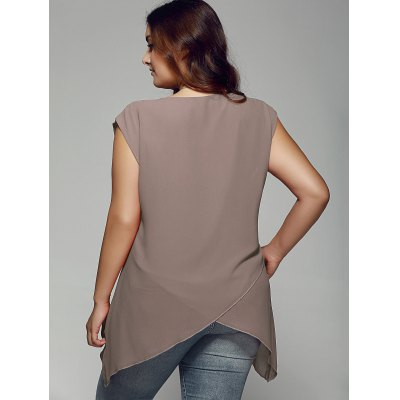 Plus Size Asymmetrical Chiffon BlousePlus Size Tops<br>Plus Size Asymmetrical Chiffon Blouse<br><br>Material: Polyester<br>Clothing Length: Regular<br>Sleeve Length: Sleeveless<br>Collar: Scoop Neck<br>Style: Fashion<br>Season: Summer<br>Pattern Type: Solid<br>Weight: 0.176kg<br>Package Contents: 1 x Blouse