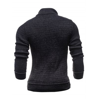 Ribbed Shoulder Patch Claw Button Long Sleeve Sweater