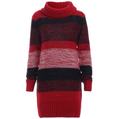 Color Block Ribbed Long Sleeves Sweater Dress