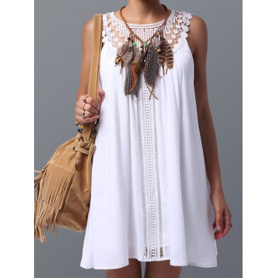 Lace Spliced Sleeveless Dress