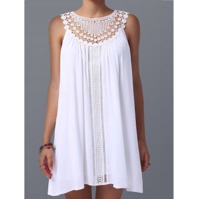Lace Panel Spring Casual Tunic DressSleeveless Dresses<br>Lace Panel Spring Casual Tunic Dress<br><br>Dresses Length: Mini<br>Material: Polyester<br>Neckline: Jewel Neck<br>Package Contents: 1 x Dress<br>Pattern Type: Patchwork<br>Season: Summer<br>Silhouette: Straight<br>Sleeve Length: Sleeveless<br>Style: Casual<br>Weight: 0.235kg<br>With Belt: No