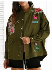 Stand Neck Rivet Embroidered Patchwork Coat