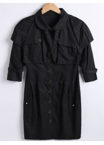 Button Down Capelet Trench Coat