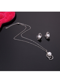 Classical Rhinestone Faux Pearl Decorated Pendant Necklace and A Pair of Earrings For Women