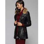 Zipper Design Faux Leather Slimming Coat for sale
