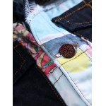 Color Block Patch Design Turn-Down Collar Denim Waistcoat deal
