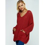 cheap V Neck Textured Loose Sweater