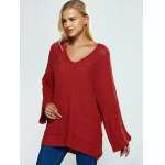 V Neck Textured Loose Sweater deal