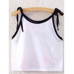 Sweet Spaghetti Strap Lace-Up Floral Print Crop Top For Women photo