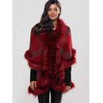 cheap Batwing Sleeves Tiered Furry Coat