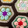 cheap Chinese Style Comfortable Knitted Hexagon Flower Blanket