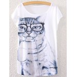 Chic Scoop Neck Short Sleeve Kitten Print Loose-Fitting Women's T-Shirt