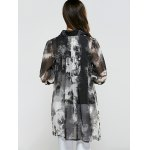 3/4 Sleeve Printed Asymmetrical Chiffon Blouse for sale