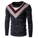 Round Neck Knit Blends Geometric Pattern Long Sleeve Sweater