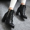 cheap Tie Up Double Zipper PU Leather Ankle Boots