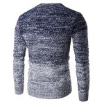 cheap Round Neck Knit Blends Ombre Long Sleeve Sweater