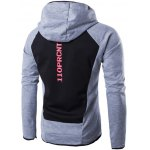 cheap Hooded Color Block Spliced Long Sleeve Letter Print Zip-Up Hoodie