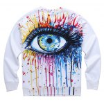 cheap Dripping 3D Eyes Print Round Neck Long Sleeve Sweatshirt