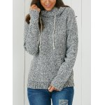 Hooded Long Sleeve Pocket Design Women's Sweater photo