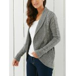 Stylish Shawl Collar Long Sleeve Slimming Women's Cable Cardigan for sale