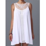 cheap Lace Panel Spring Casual Tunic Dress