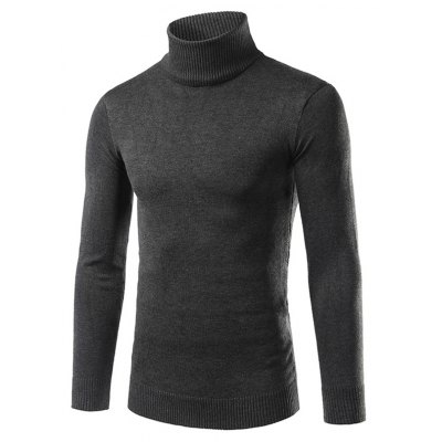 Turtle Neck Rib Splicing Long Sleeve Cotton Blends Sweater