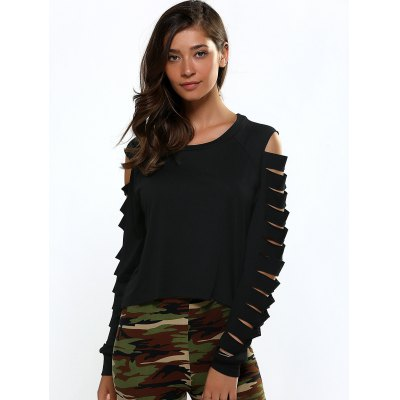 Cut Out Shoulder Long Sleeve Cropped Blouse