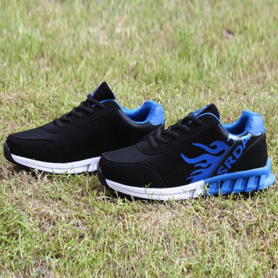 Breathable Tie Up Colour Block Athletic Shoes