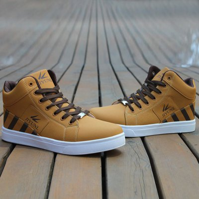 Striped Pattern Tie Up Casual Shoes