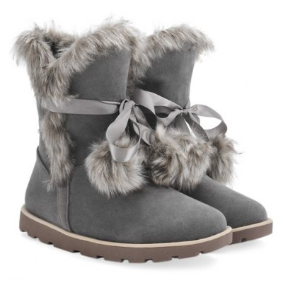 Tie Up Faux Fur Flat Snow Boots