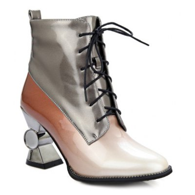 Ombre Tie Up Patent Leather Ankle Boots