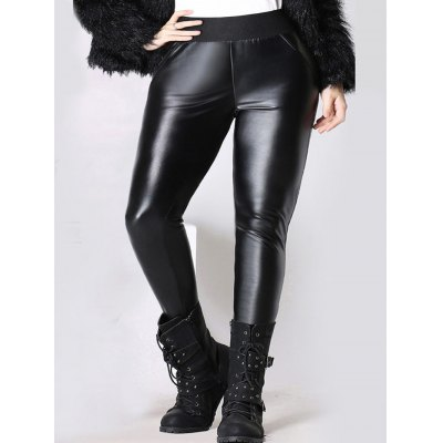 Elastic Waist Thicken Faux Leather Pants