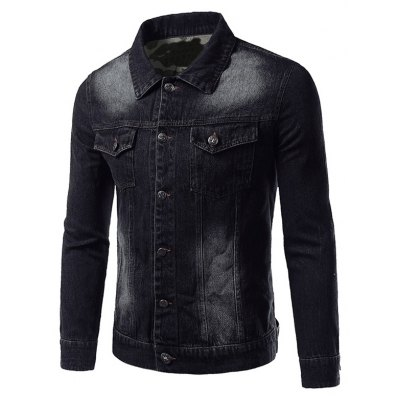 Plus Size Camouflage Hemming Turn-Down Collar Single-Breasted Denim Jacket