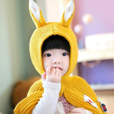 Applique Patched Rabbit Ear Knitted Hooded Scarf