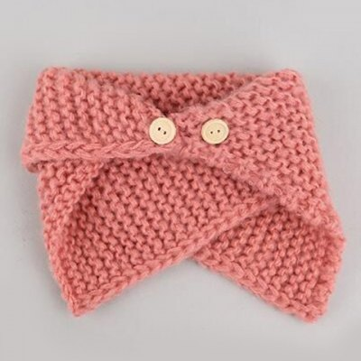 Buttons Flanging Knitted Scarf