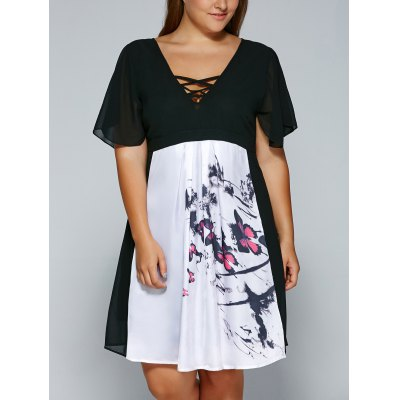 V Neck Backless Butterfly Skater Dress