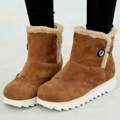Slip On Faux Fur Flat Snow Boots